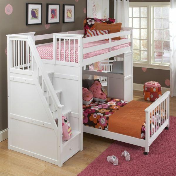 kinderzimmer kinderhochbett weiße treppen schubladen rosa teppich ... | {Kinderhochbett mit treppe 1}