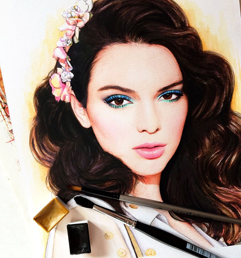 Kendall Jenner fashion illustration by Doll Memories