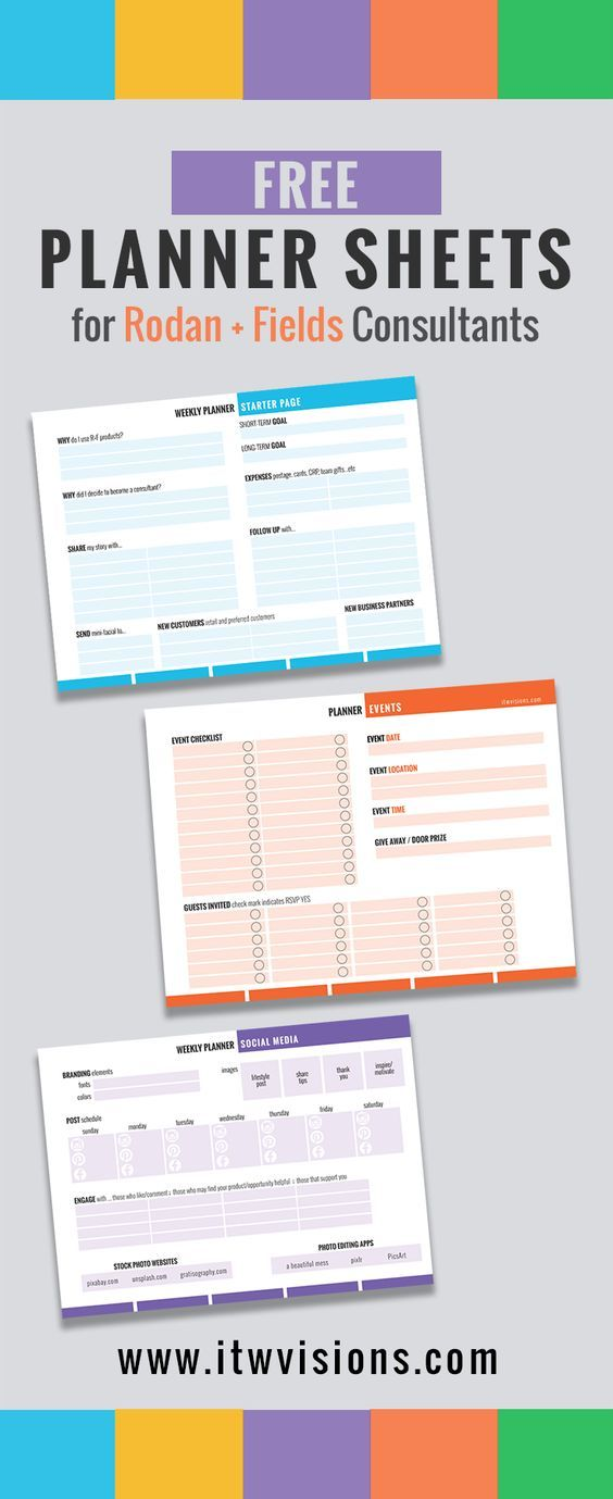 Rodan and Fields Business Checklist and Planner Sheets, Calendar - what is a marketing calendar