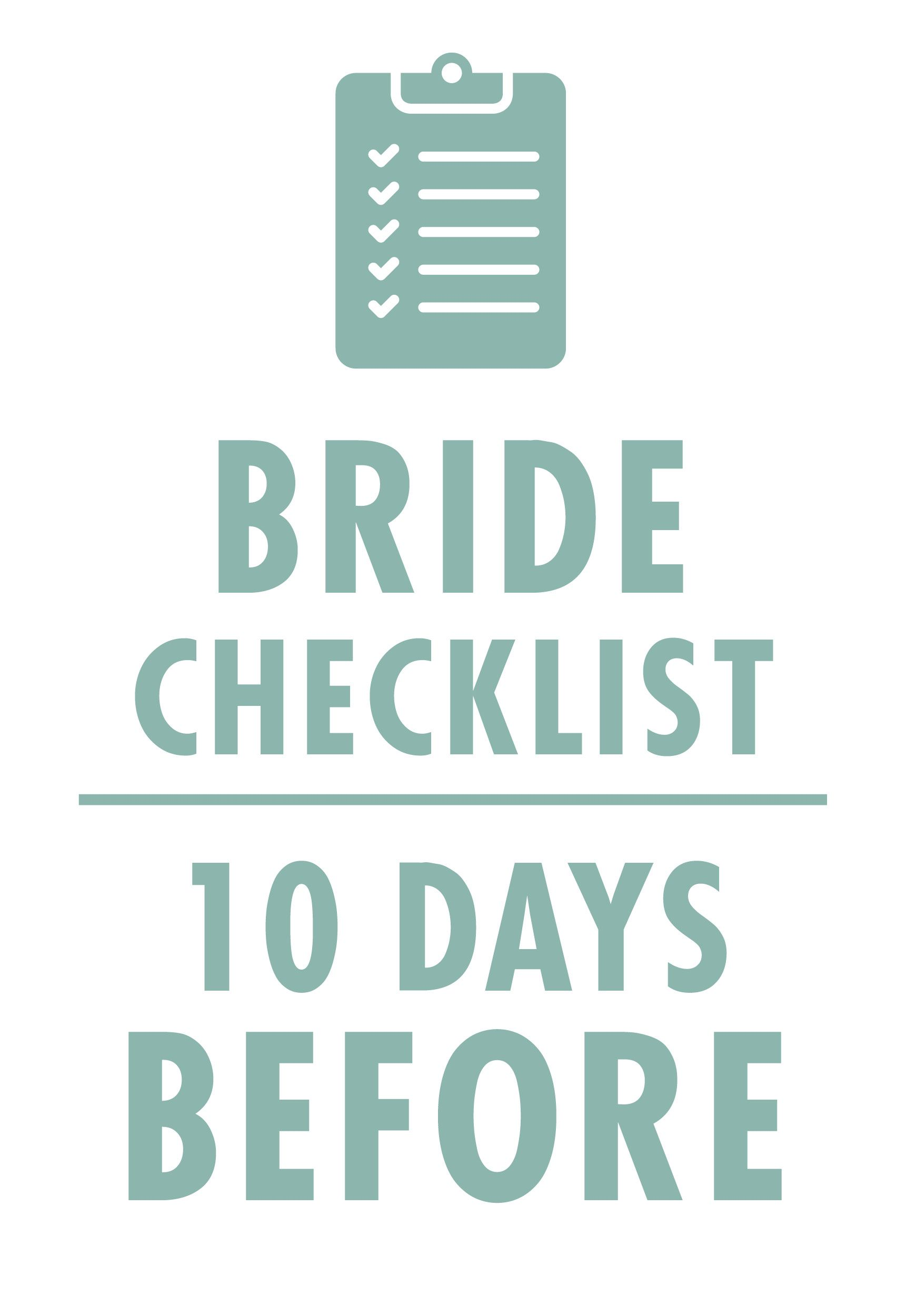 Week Before Wedding Checklist Wedding To Do List Wedding To Do List Wedding Checklist Bride Checklist