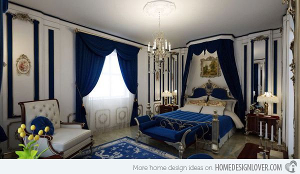 Feel The Grandeur Of 20 Classic Bedroom Designs Home Design Lover Royal Blue Bedrooms Blue Bedroom Walls Blue Couch Decor