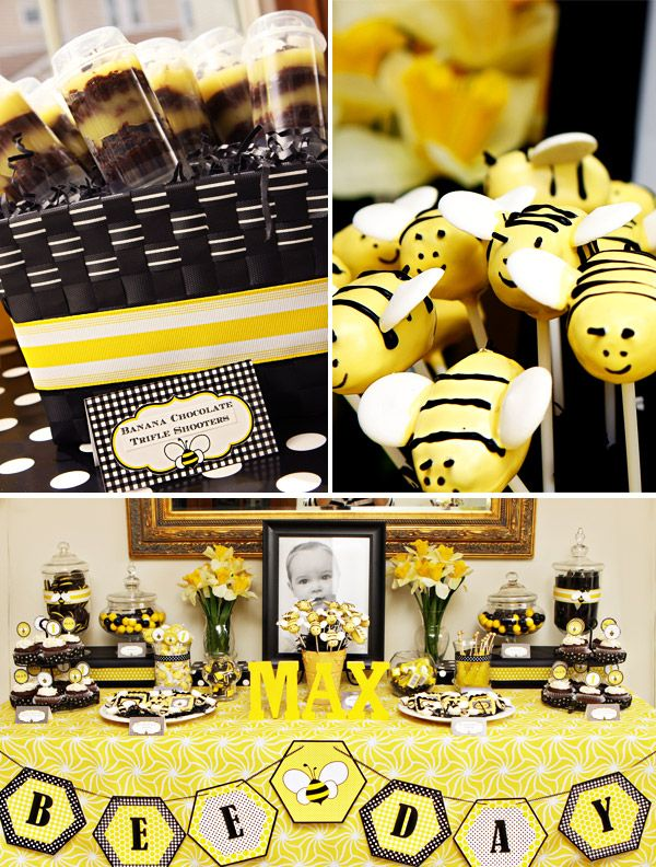 """What a """"bee""""-utiful dessert table!  Just sticking with two dramatic colors can create quite an elegant yet still child-friendly display, as seen in this first birthday party"""