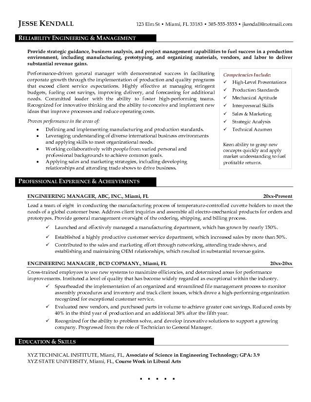 Sample Engineering Management Resume Engineering Resume Objectives Samples Free Resume Templates  Http .