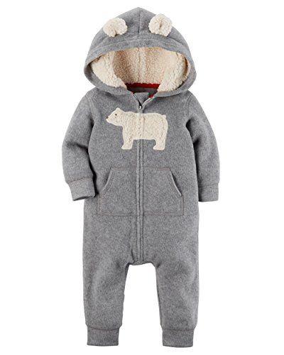 451b126af Carter s Baby Boys Fleece Hooded Romper Jumpsuit Grey Bear 3 Months ...