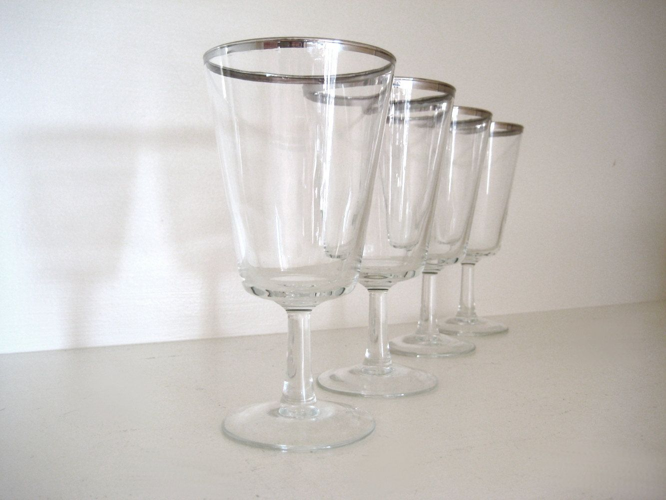 Vintage French Silver Rimmed Wine Or Cocktail Glasses 1960s Silver Rim Drinking Glasses Set Of 4 Metal Band France Cocktail Glasses French Vintage Metal Bands [ 1000 x 1333 Pixel ]