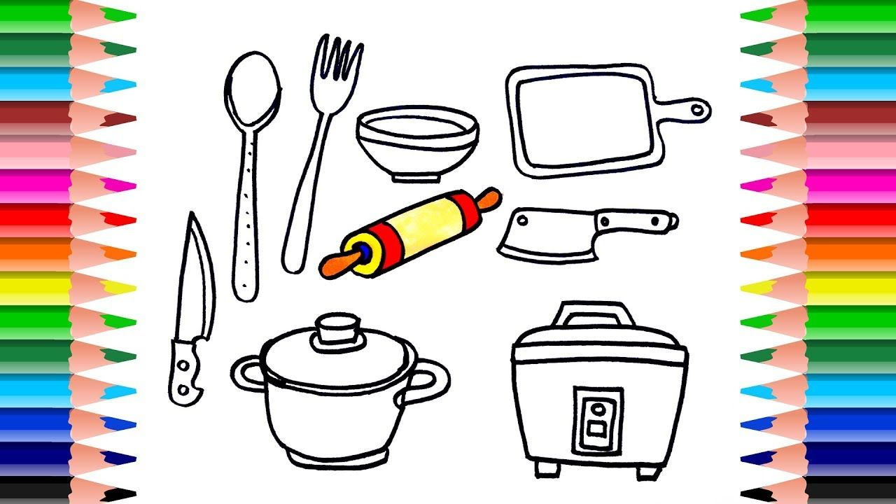How to Draw Cooking Toys for Kids | Coloring Book kitchen ...
