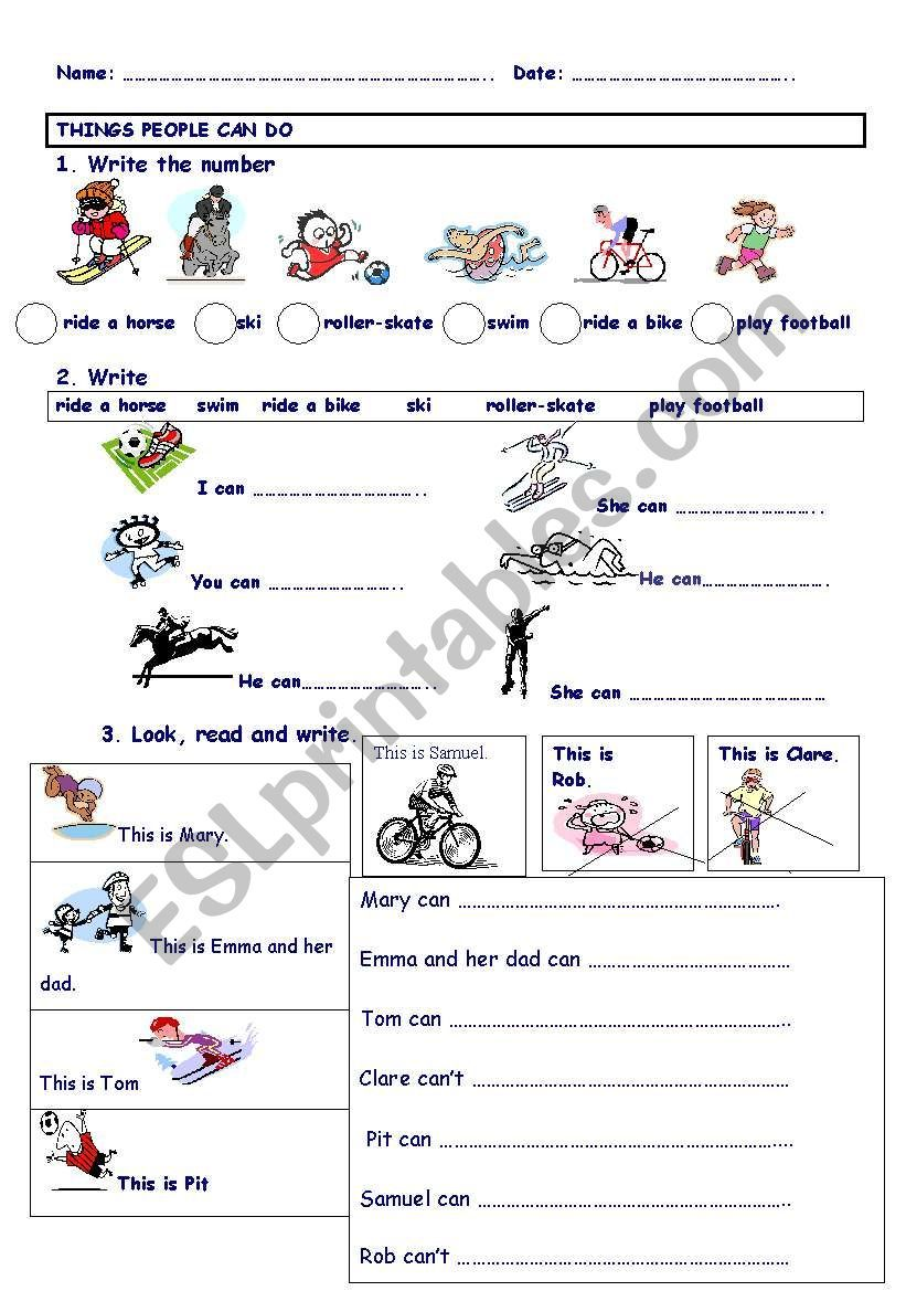 THINGS PEOPLE CAN DO ESL worksheet by maytechuna in 2020