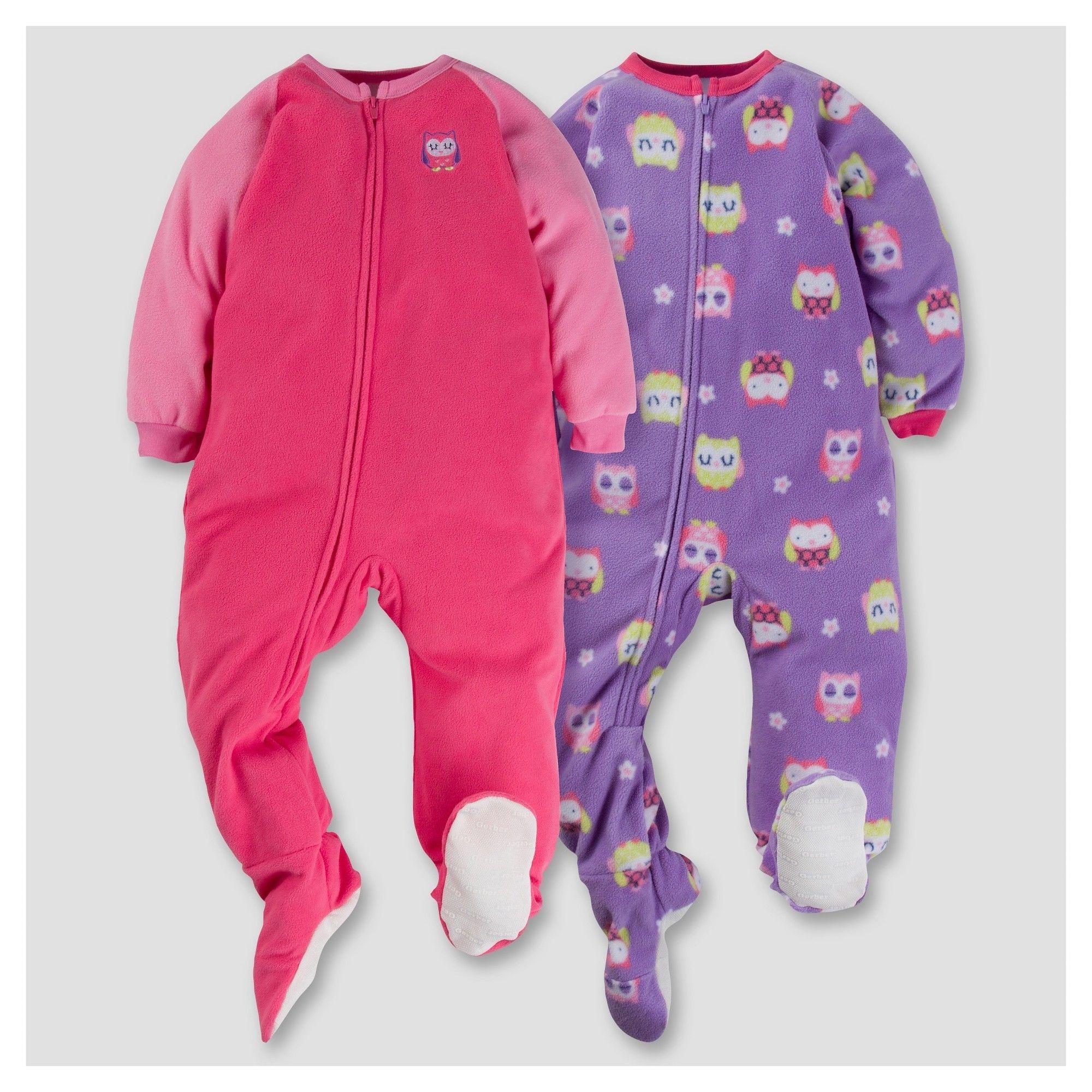 Gerber Toddler Girl 2pk Sleepy Owl Microfleece Zip-Front Footed Blanket  Sleepers - Pink 4T c26170331