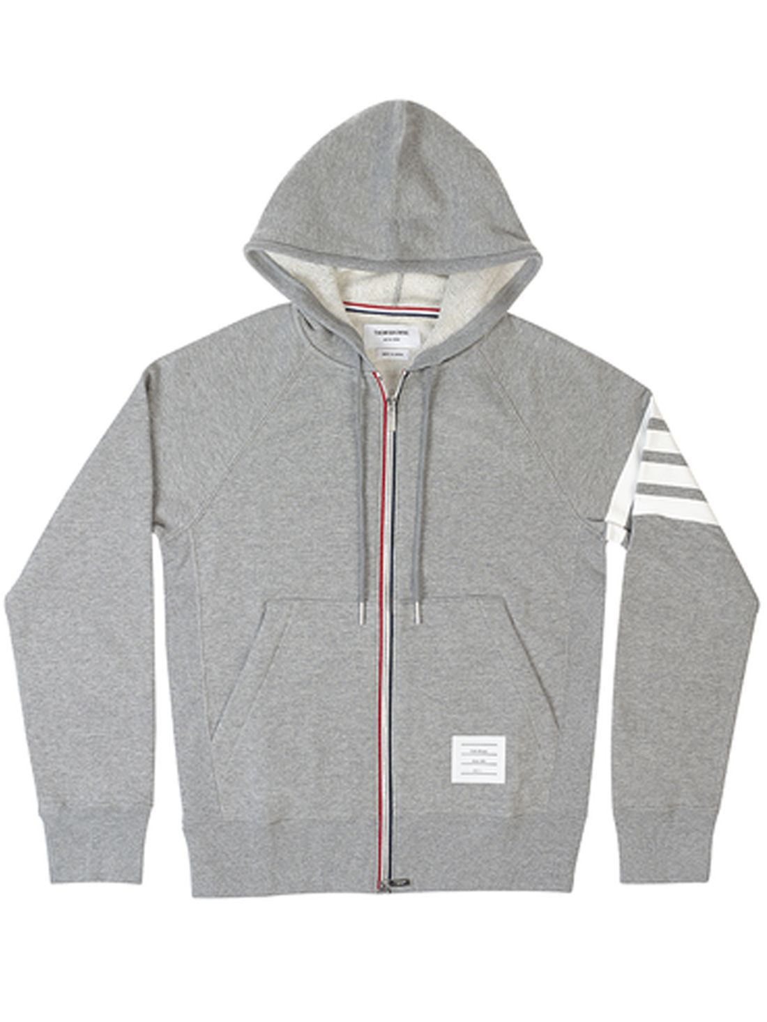 FULL ZIP HOODIE WITH CLASSIC 4-BAR STRIPES | Thom Browne