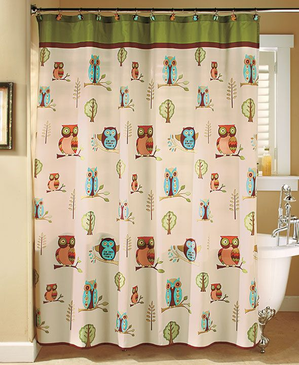 Owl Shower Curtain Cute Bathroom Decor Colorful Give Your Bath A Hoot