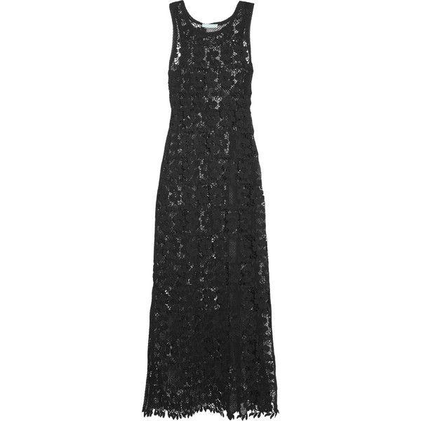 Melissa Odabash Jamie lace maxi dress ($270) ❤ liked on Polyvore featuring dresses, black, bohemian maxi dress, sheer lace dresses, beach dresses, holiday dresses and beach maxi dress