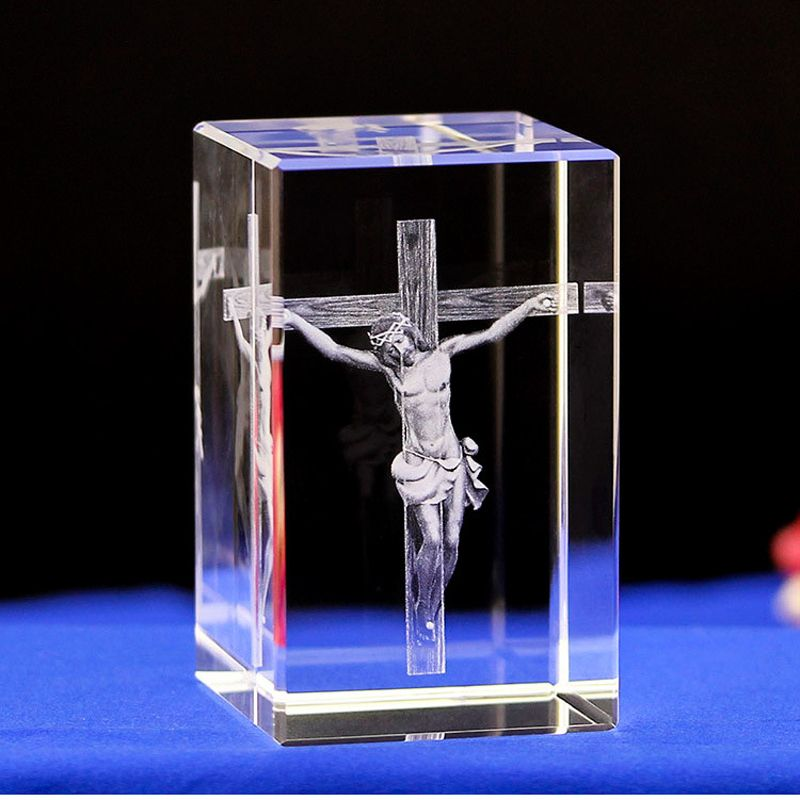 Jesus 3d Engraved Crystal Gifts Novelty Crystal Table Lamps With 4 Color Light Base Affiliate