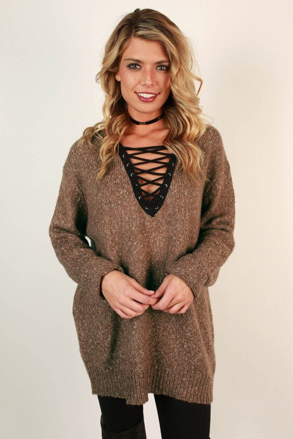 Lace Up Luxe Tunic Sweater in Mocha | Tunic sweater, Tunics and ...
