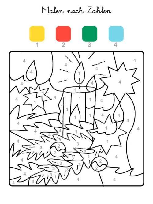 Malen Nach Zahlen Weihnachtskerze Ausmalen Zum Ausmalen Malen Nach Zahlen Malen Nach Zahlen Kinder Weihnachtskerzen