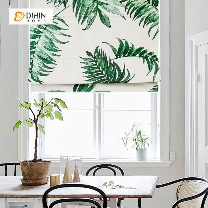 DIHIN HOME Green And White Plants Printed Roman Shades
