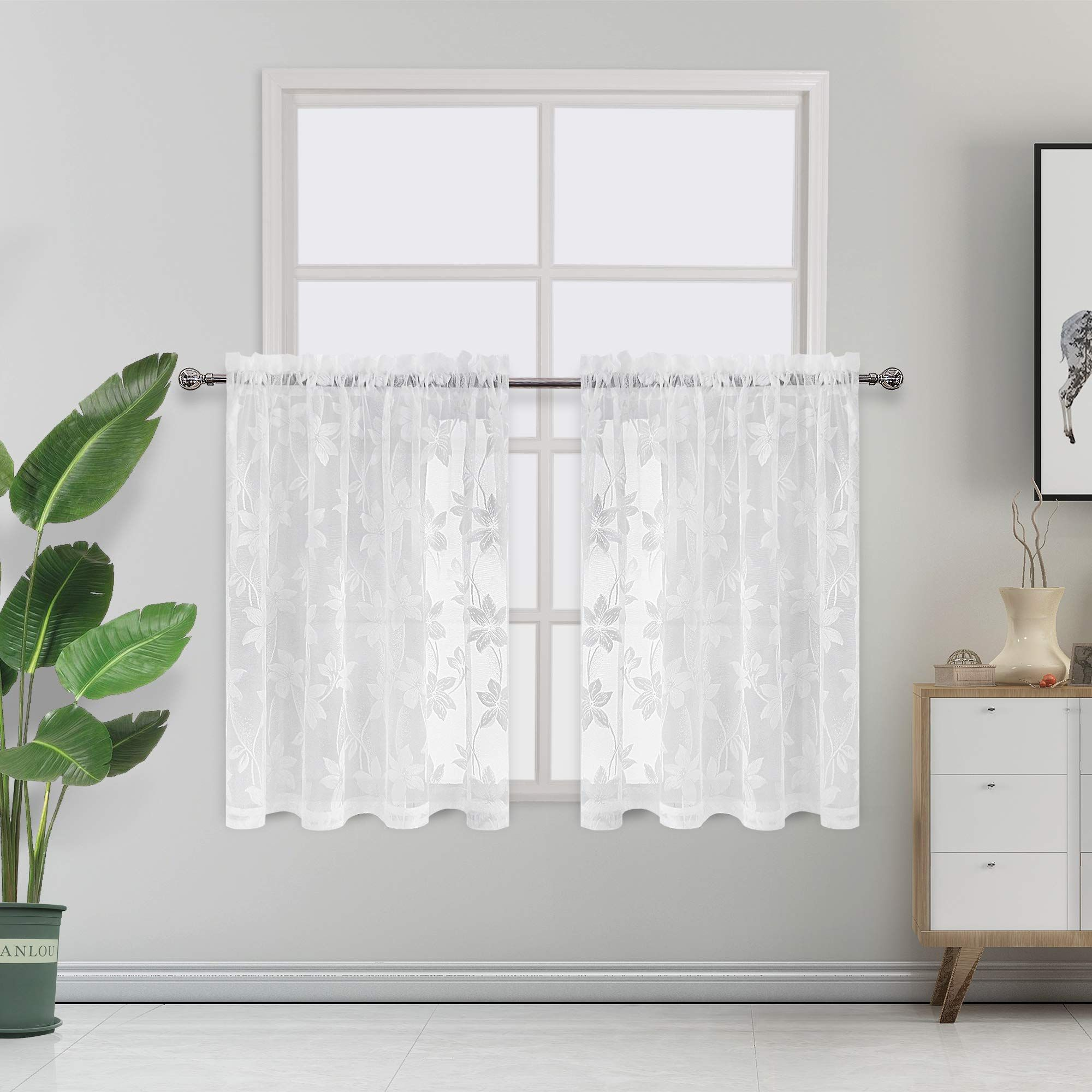 Dwcn Floral Lace Sheer Tier Curtains Rod Pocket Window Voile