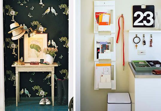 left photo - small, vintage table. still would hang things above but not opposed to both leaning & hanging