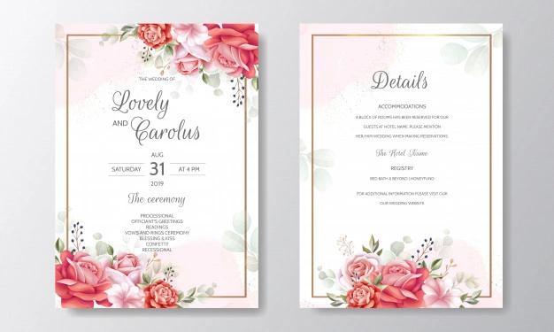 Beautiful Floral Frame Wedding Invitation Card Template In 2021 Wedding Invitation Cards Flower Wedding Invitation Wedding Invitations