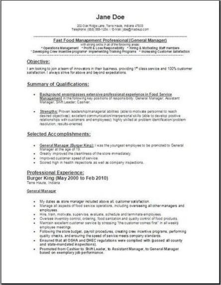 Fast Food Manager Resume2 Manager Resume Management Resume