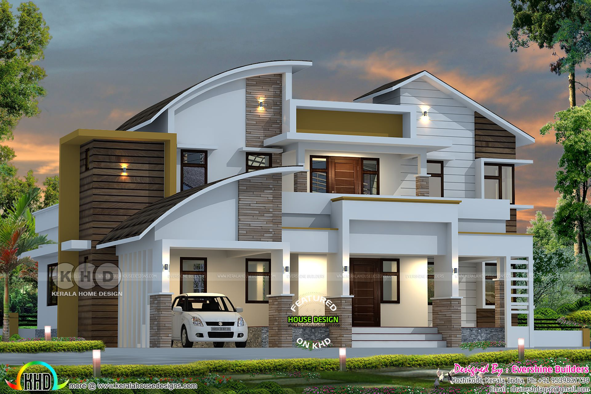 4 Bedroom Modern Contemporary Style 2550 Sq Ft Home Plan Kerala House Design Contemporary House Design Duplex House Design