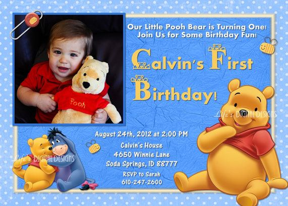 Winnie The Pooh First Birthday Invitation Blue Photo Option - Birthday invitation templates winnie pooh