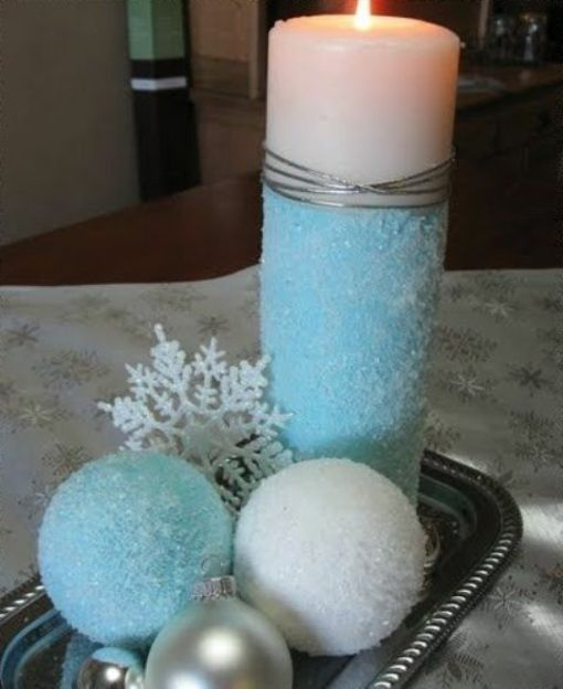 Centre De Table Déco En Bleu Et Blanc Home Bougie Noel