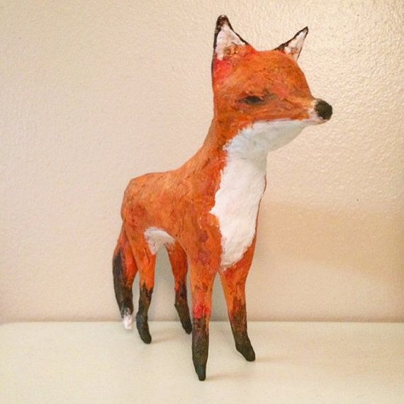 Red Fox Paper Mache By Loominuslin On Etsy Paper Mache Paper