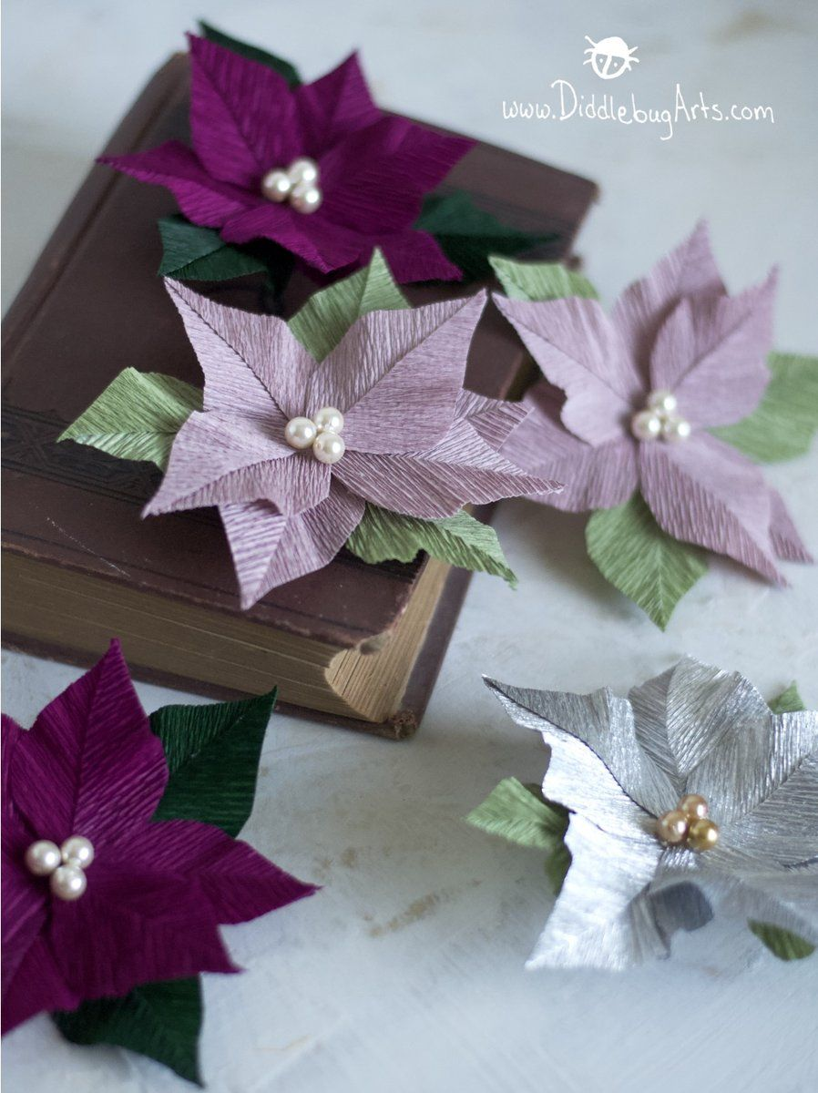 Crepe Paper Small Poinsettia Flower Pin Broach Mason Jar Crafts Diy Paper Crafts Mason Jar Crafts