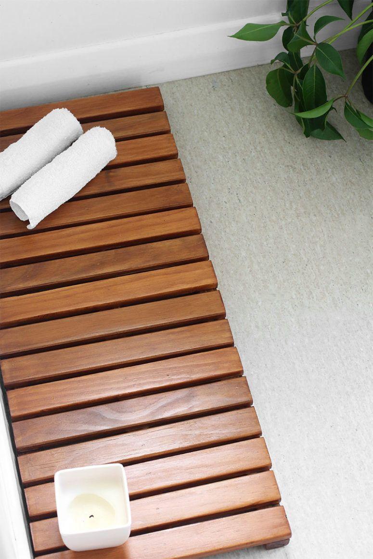 7 Diy Badezimmer Matten Fur Ein Badekurort Gefuhl Diyblog Bathroom Mats Bathroom Floor Mat Wooden Bathmat