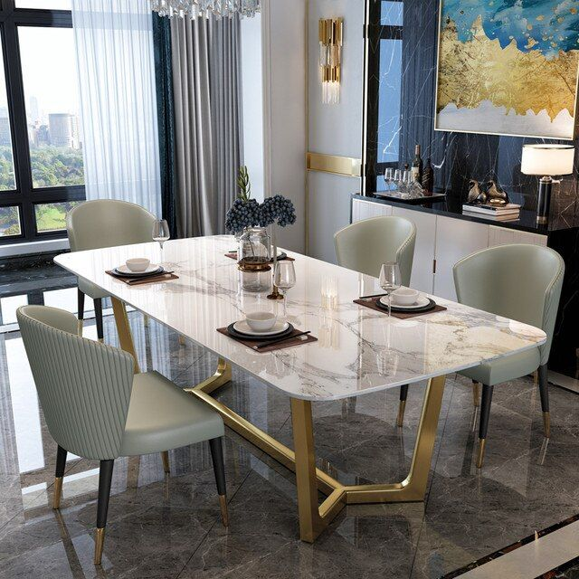 1399.0US $ |New Luxury Dining Room Furniture Dining Tables, Dining Room Sets 6 Dining Chairs, Marble Dining Table Set Modern|Dining Tables|   - AliExpress