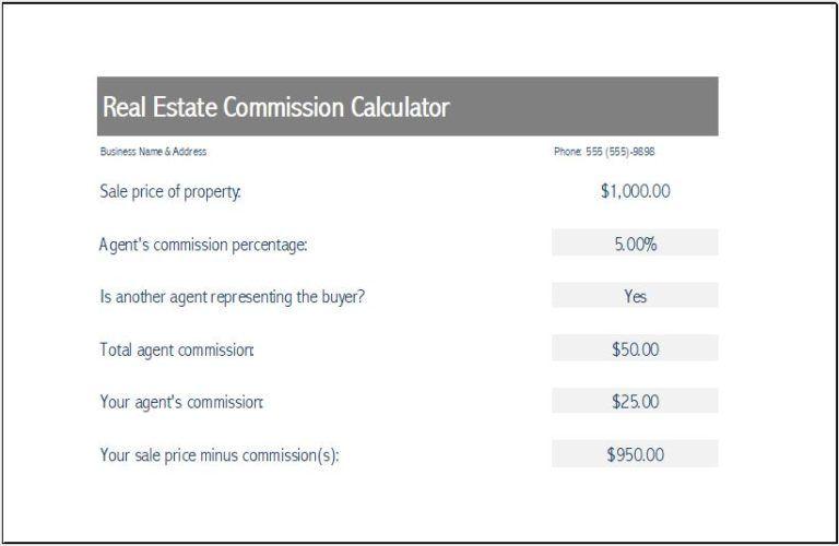 Real Estate Commission Calculator Templates 8 Free Docs Xlsx Pdf Real Estate Excel Templates Estates