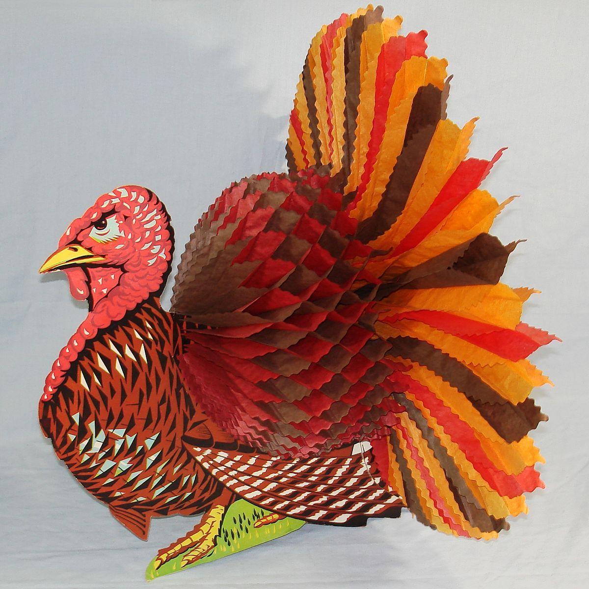 Vintage Turkey Die Cut Centerpiece with Honeycomb Thanksgiving Decoration