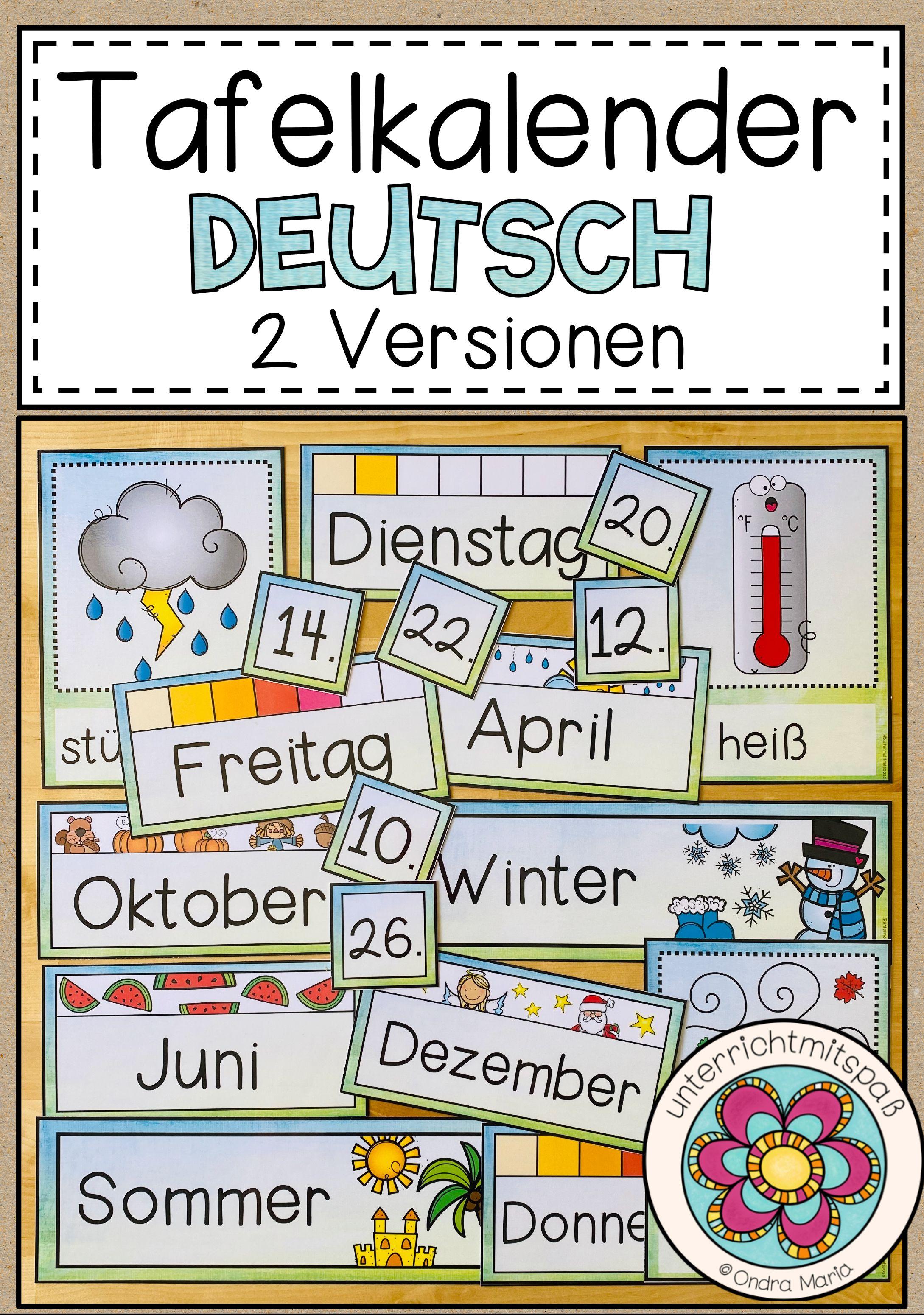 tafelkalender deutsch 2 versionen  unterrichtsmaterial