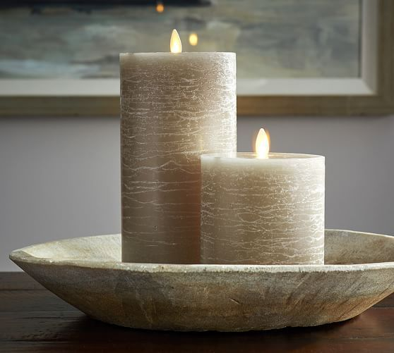 Pottery Barn Flameless Candles Amusing Premium Flicker Flameless Rustic Wax Pillar Candle  Gray  Pottery