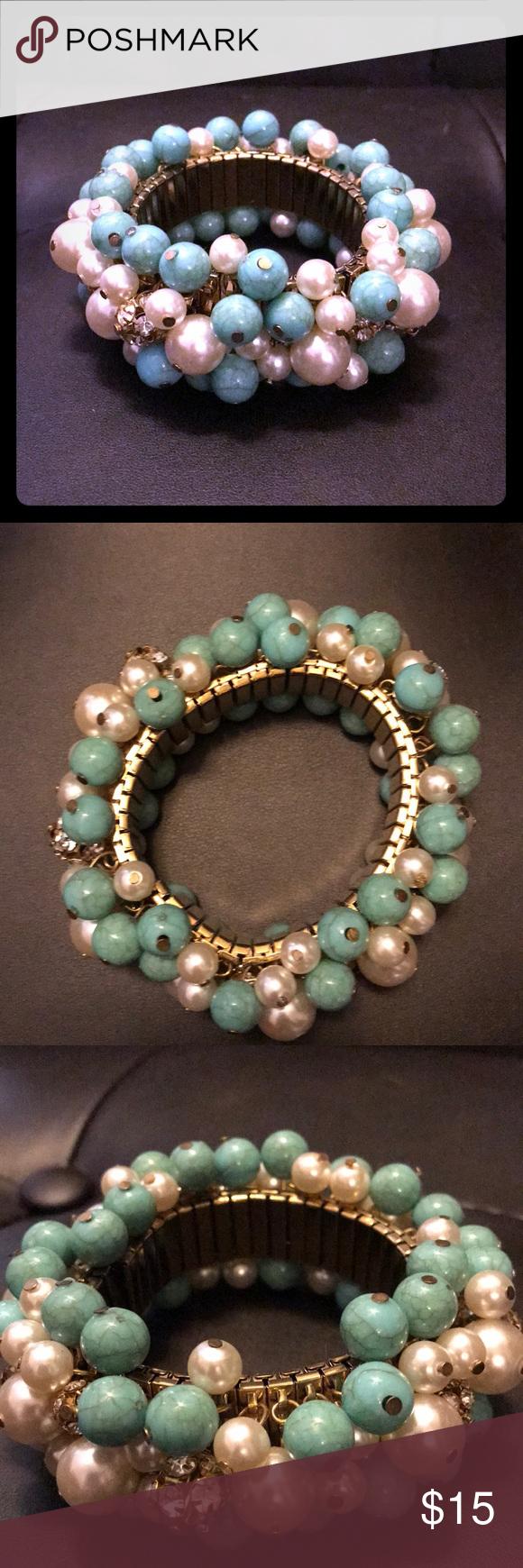 Vintage turquoise and jewel beaded bracelet vintage bracelet in