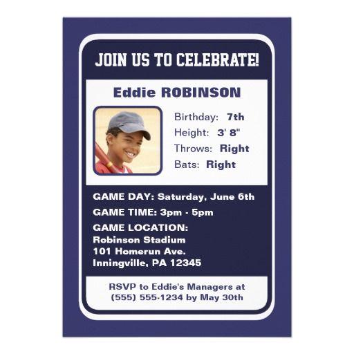 Sawyer Mock Baseball Card Birthday Invitation