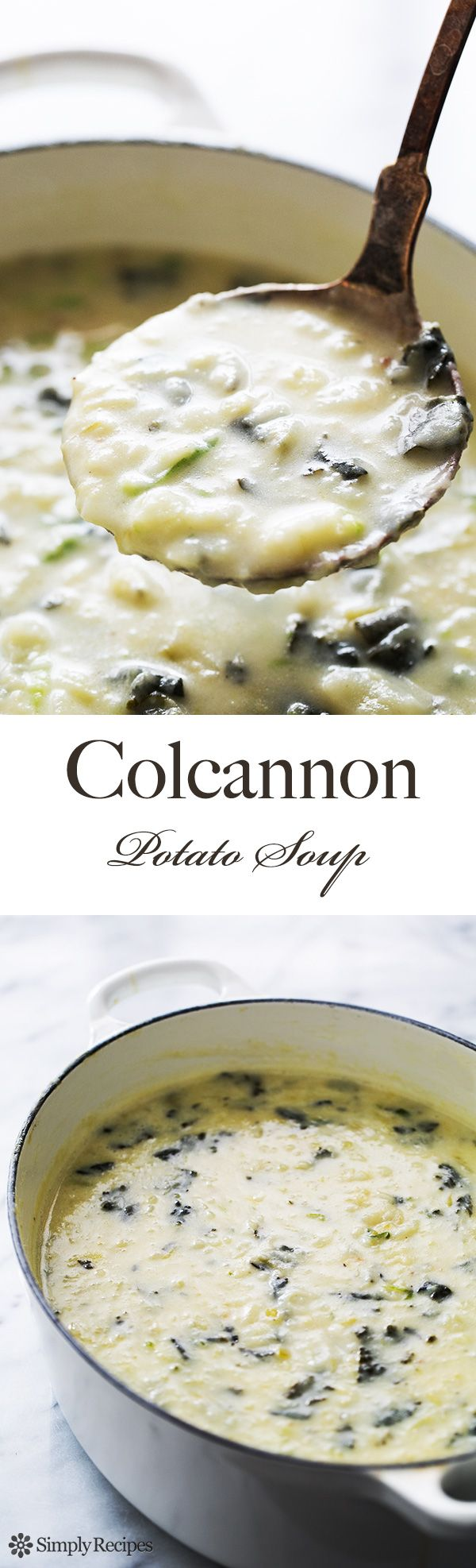 Hearty Colcannon Potato Soup! Like Irish colcannon, but in soup form. With russet potatoes, cabbage, kale, stock, and cream.  SimplyRecipes.com