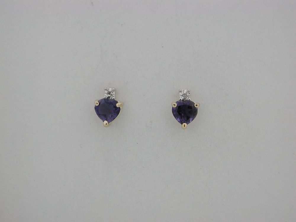 SOLID 14KT YELLOW GOLD HEART SHAPE GENUINE IOLITE WITH GENUINE DIAMOND EARRING