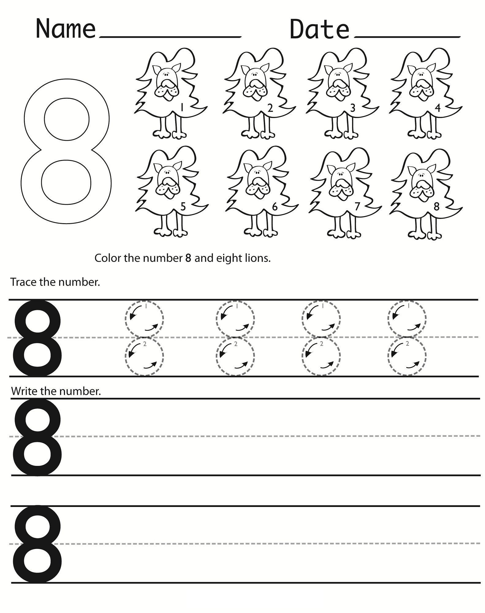 Number 8 Worksheets Printable