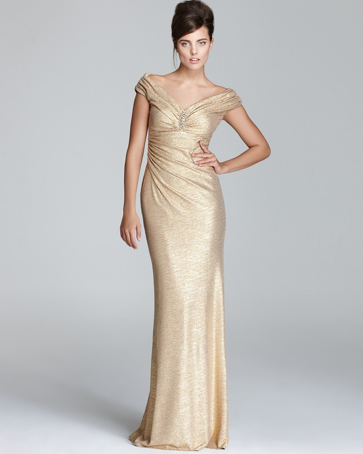 David Meister Gown - Metallic V Neck | Bloomingdale\'s | Bridesmaid ...