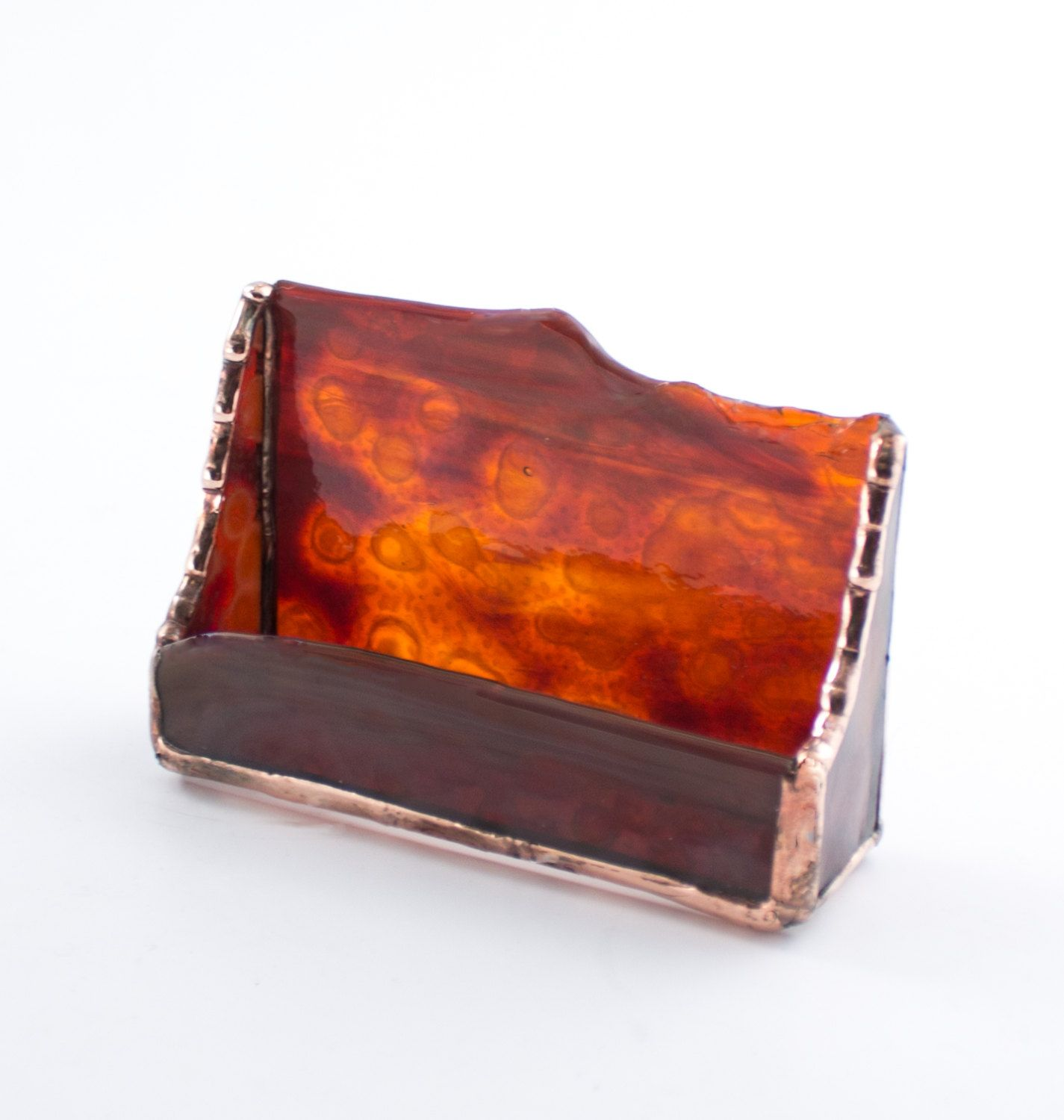 Dark Amber Business Card Holder - Stained Glass - Rustic Design ...