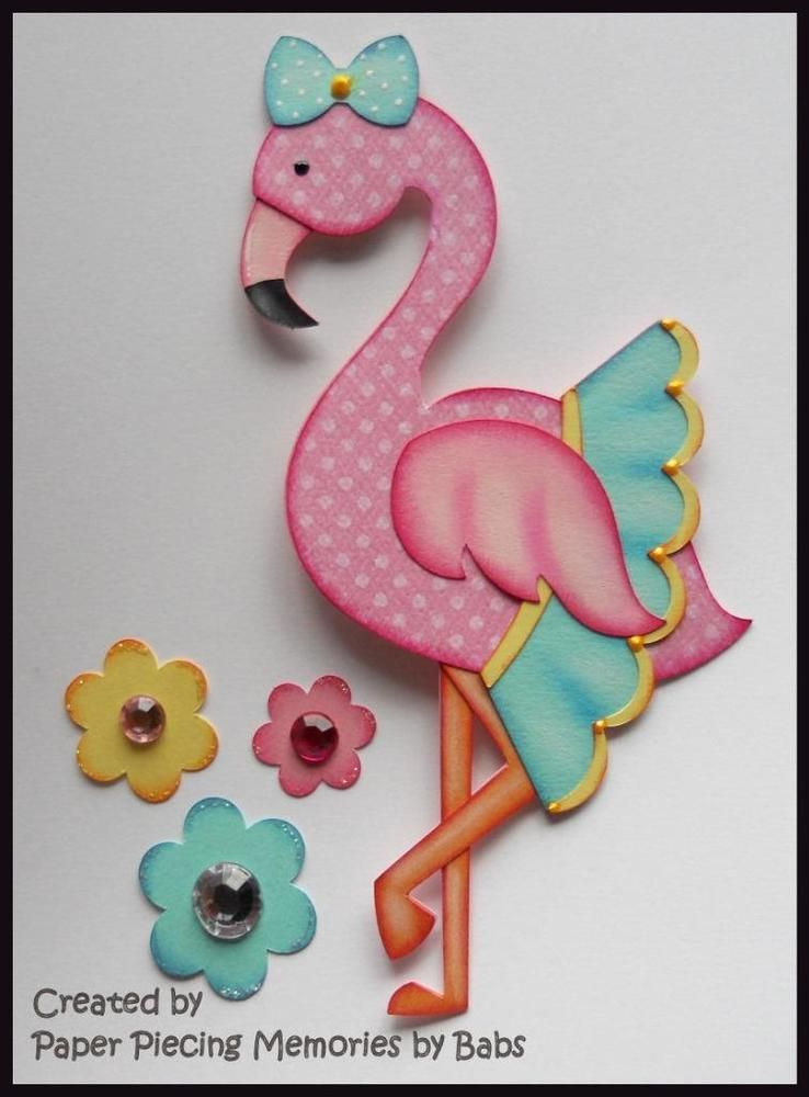 Pretty Flamingo Premade Paper Piecing Embellishment Die Cut by Babs
