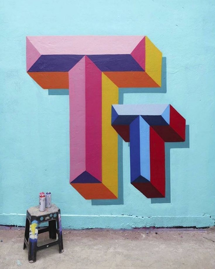 Colorful 3D Typography Mural #3dtypography