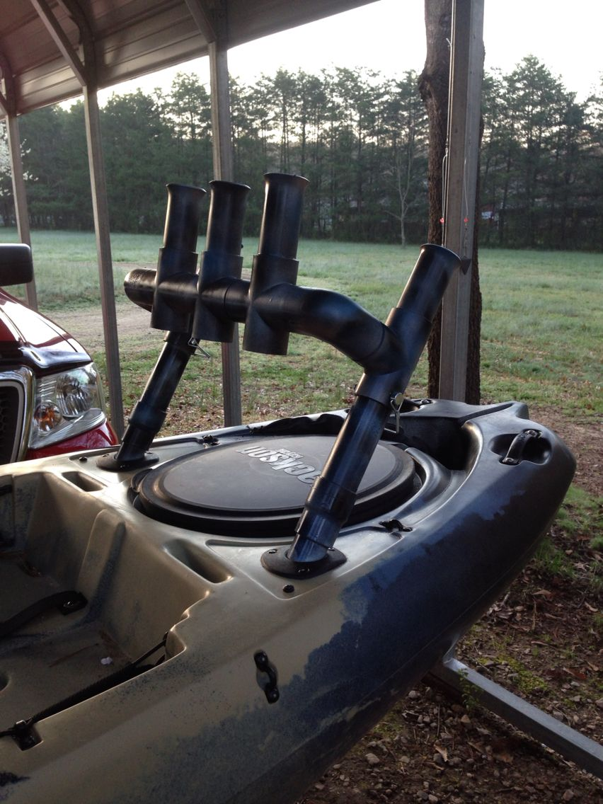 Diy kayak rod holder pinteres for Kayak fishing pole holder