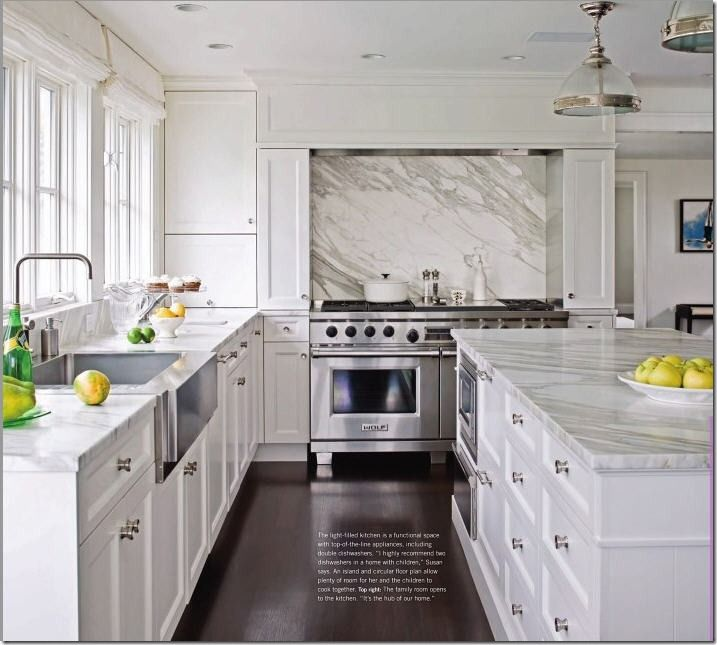White Kitchen Cabinet With Carara Marble Cabinets Walls And Countertops