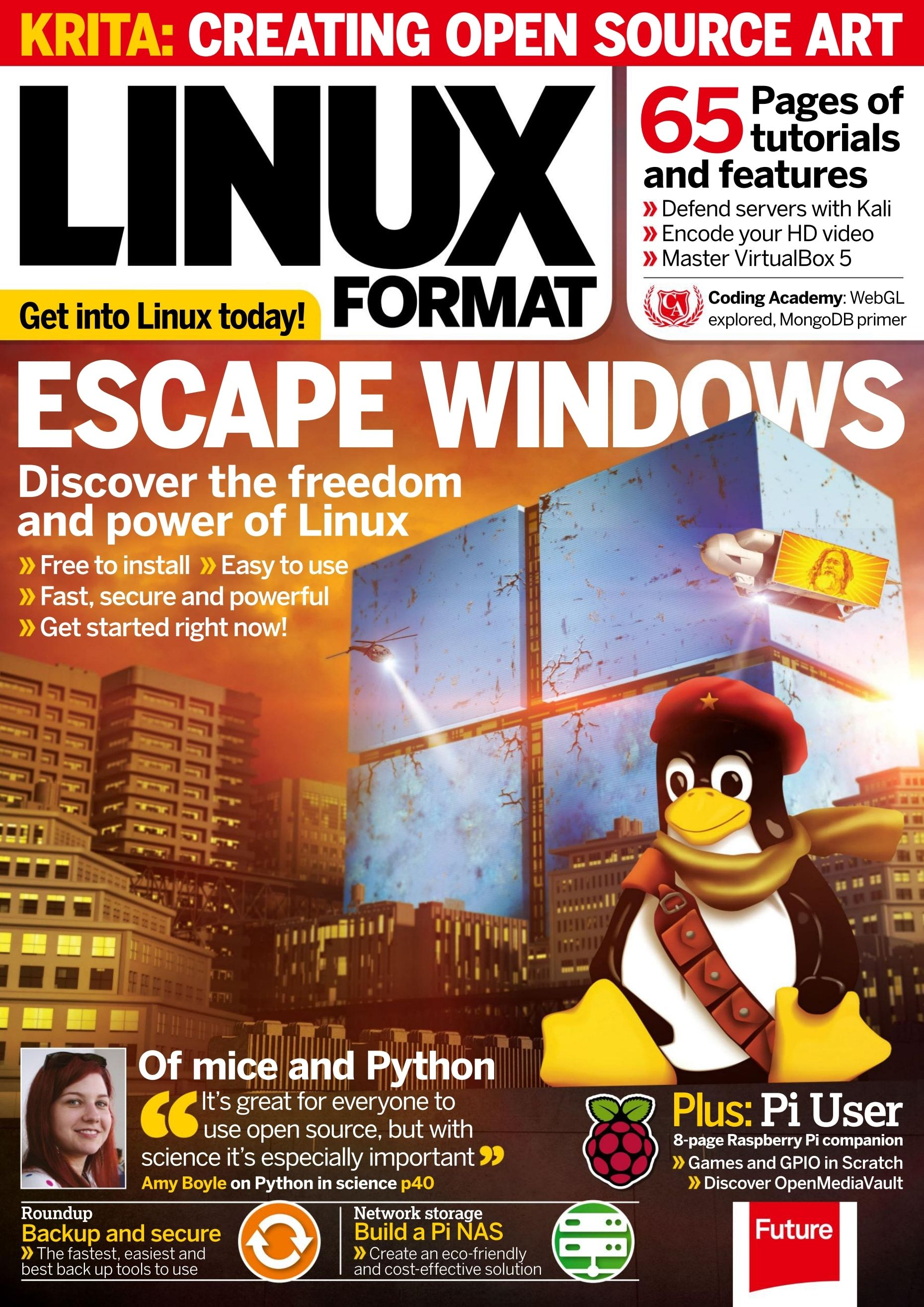 #Linux Format, #February 2016. Escape Windows 10. Tutorials: #Kali Linux, #Zeroshell and more. #WebGL audio visualizer.