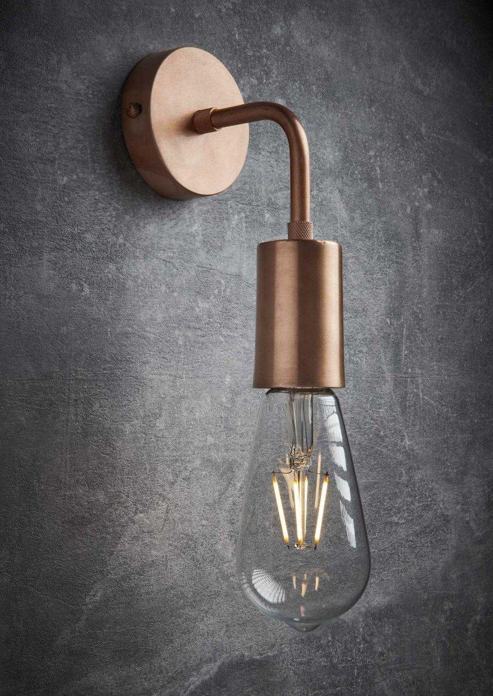 Vintage Sleek Edison Wall Light Copper Industville Metal Wall Light Wall Lights Industrial Wall Lights