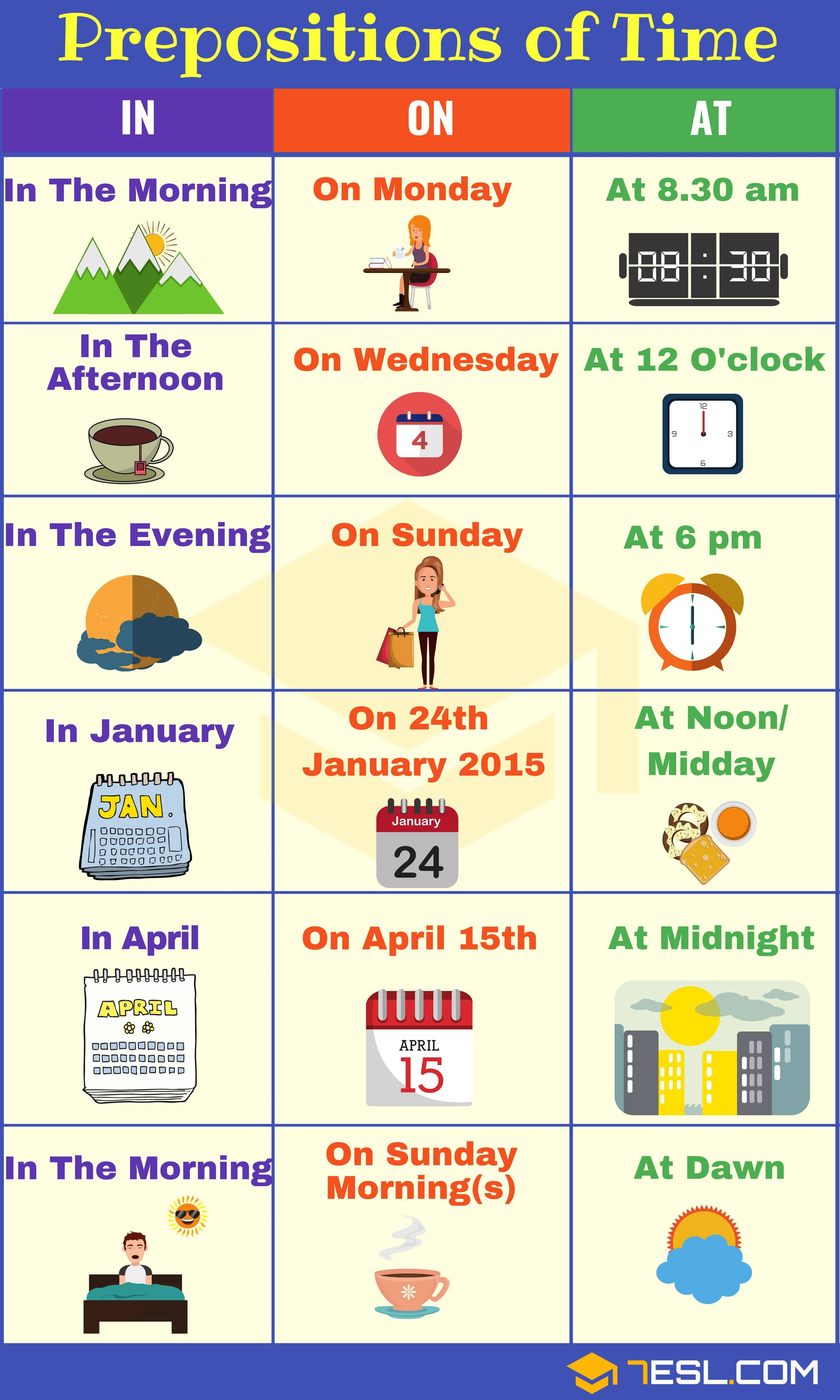 Prepositions Of Time: Definition, List And Useful Examples - 7 E S L |  English prepositions, Learn english vocabulary, English learning spoken