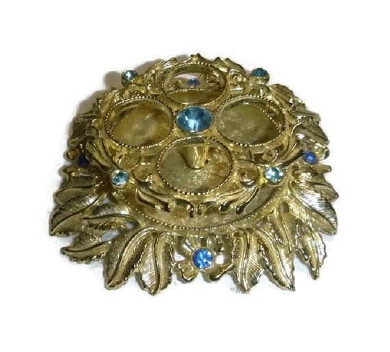 50s 60s Rhinestone Lipstick Holder Victorian Ormolu Style Vintage Blue Gold Leaf Floral Makeup Holder Mad Men Vanity Dressing Table Decor