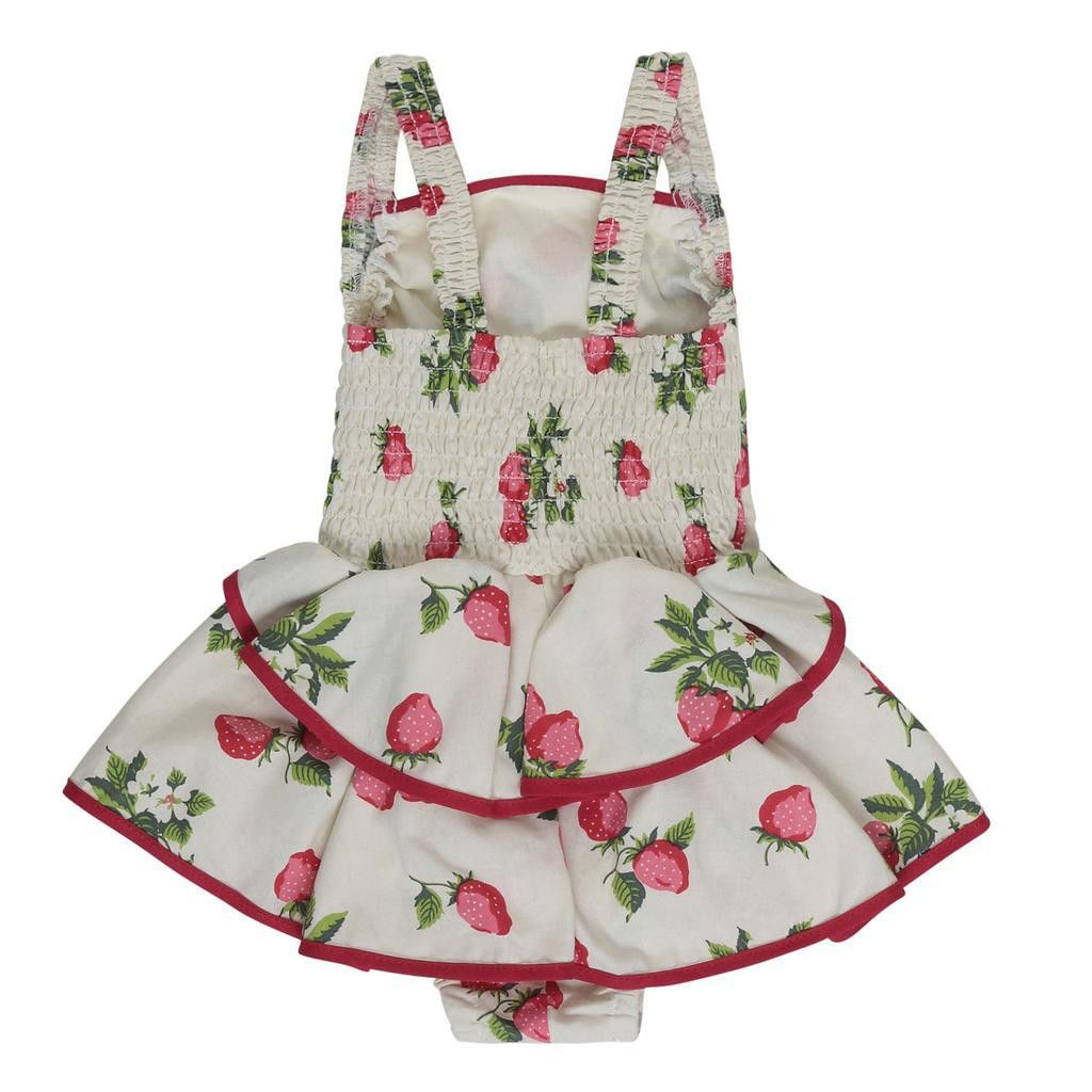 Princess Strawberry Romper Floral Jumpsuit Newborn Girls Baby Romper